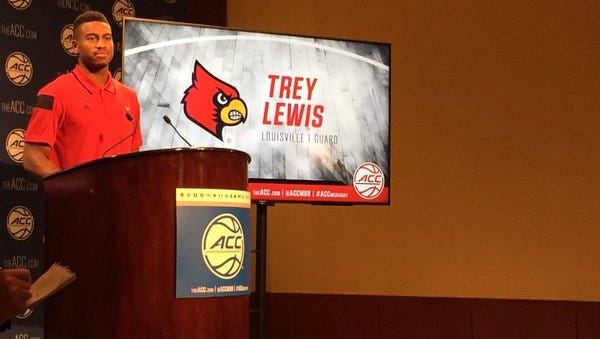 Louisville guard Trey Lewis starts ACC media day with a short press conference.