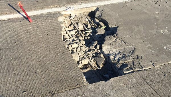 This pothole opened up on the I-75 Rouge River bridge this morning.