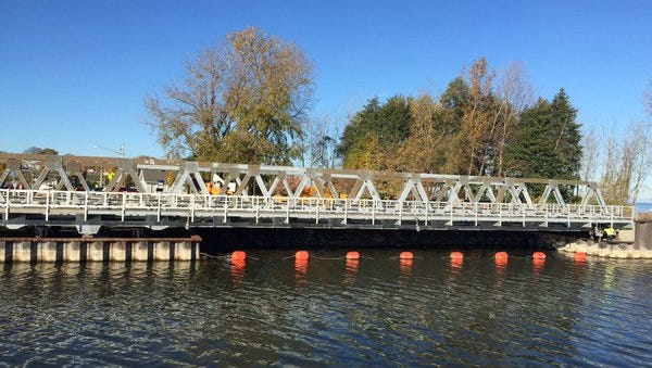 The Irondequoit Outlet Bridge before its reopening Nov. 2, 2015. This view is from the Webster side.