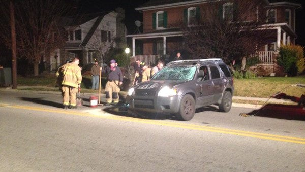A black ford SUV rolled over in the 700 block of Broadway in Hanover.