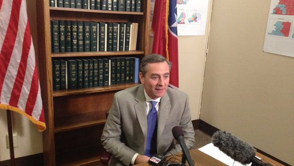 House GOP Caucus Chairman Glen Casada, R-Franklin, speaks during a news conference Wednesday about his comments regarding Syrian refugees.