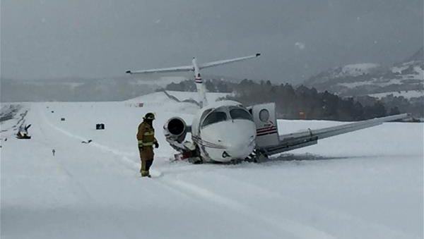 A small twin-engine plane flying out of El Paso carrying seven people crashed and struck a snowplow Wednesday at the Telluride Airport in Telluride, Colo.