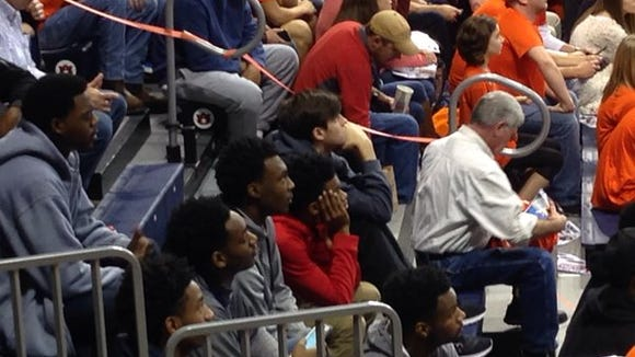 Auburn 2017 commit Austin Wiley (middle) and 4-star recruit Jamal Johnson (left) in the stands for Auburn's SEC opener win vs. Tennessee Saturday at Auburn Arena.