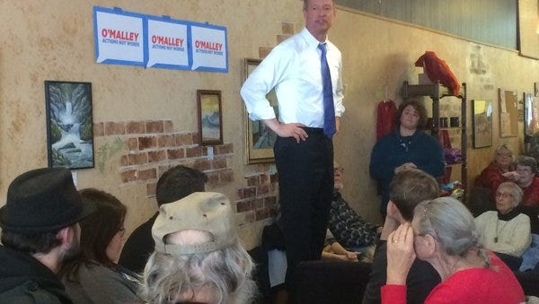 Martin O'Malley visited Uncle Nancy's Coffee Shop in Newton on Monday.