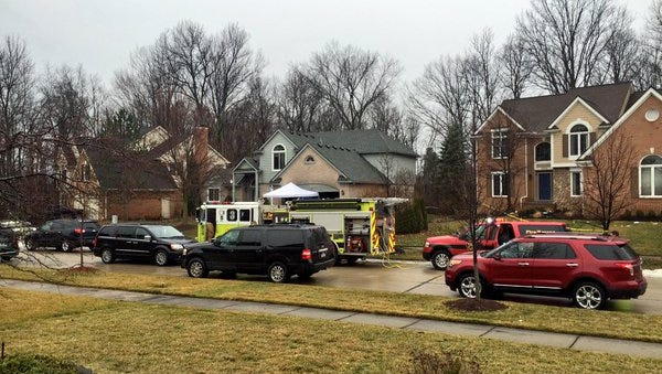 Five people died in the home in the center of the photo in a fire overnight in Novi.