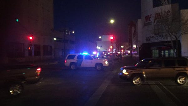 Border Patrol agents block a street in Downtown El Paso after a shooting Thursday evening.