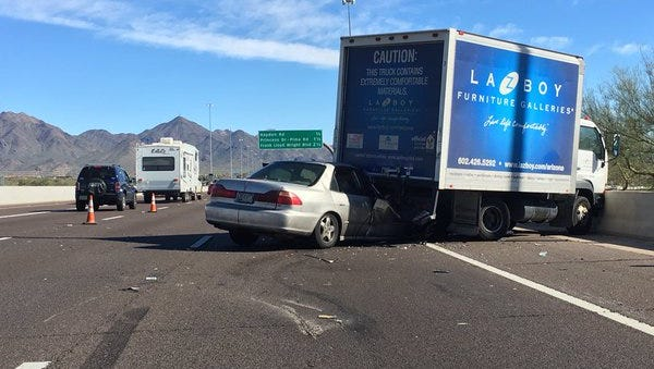 The driver of the silver vehicle was seriously injured Friday afternoon after rear-ending this box truck.