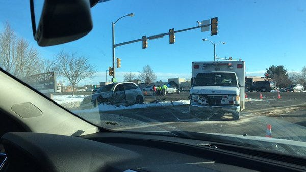 Crash scene at College and Horsetooth.