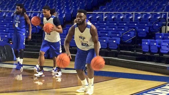 Guard Giddy Potts (20) returned to practice on Monday in Murfreesboro.