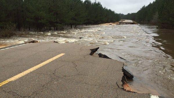 Part of Mississippi 589 between Davis Road and Burnt Bridge Road has been washed away.