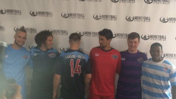 Lansing United unveiled its 2016 jerseys Wednesday night and its partnership with Lansing's Moneyball Sportswear, which made the new uniforms.