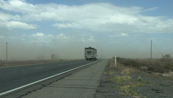 A 62 mile stretch of Interstate 10 is closed due to blowing dust.