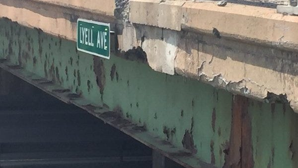A chunk of concrete fell from the Lyell Ave. bridge on Tuesday, May 31 and broke through a motorist's sunroof.