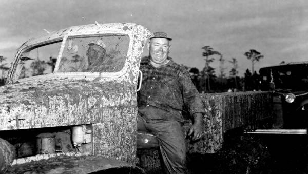 Very muddy swamp buggy photographed on Naples' Swamp Buggy Day November 8, 1953. Photo courtesy of the State Archives of Florida/FloridaMemory.com