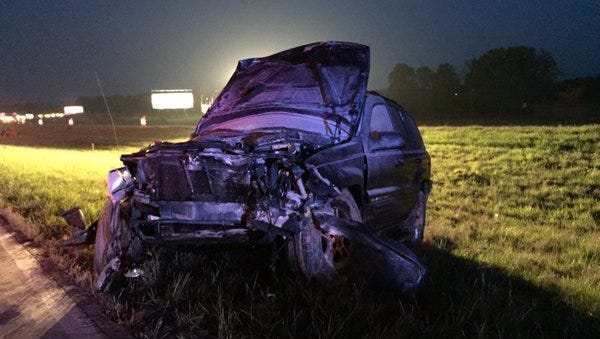 The Jeep involved in a fatal drunken driving accident on Interstate 64 in Warrick County on April 23, 2016.