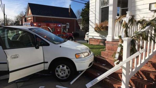 A motorist crashed into the entrance of Heirloom restaurant in Lewes after being broadsided on Monday, police said.