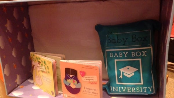 """Healthy Start Coalition is providing a """"Baby Box,"""" which contains supplies and information and can be used as a crib, to every woman who gives birth at Indian River Medical Center."""