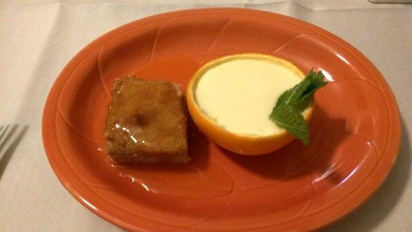 Fire and Wine's orange panna cotta with cinnamon cake.