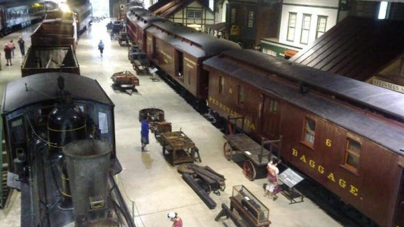 Vintage train cars at the Railroad Museum of Pennsylvania in Strasburg,