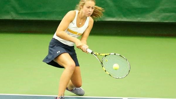 Wausau West's Natasha Bailey competes against Nicolet's Amy Drame on Thursday at the WIAA state tennis tournament in Madison.