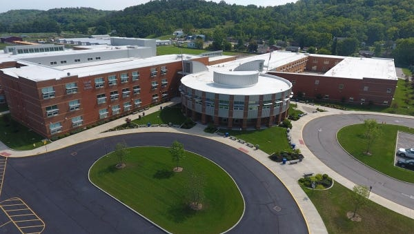 A drone photo of the Three Rivers Educational Campus in Cleves.
