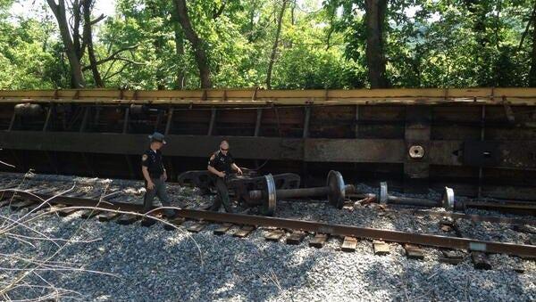 Crews are investigating the Miami Township train derailment.