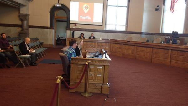 Breaking news editor Meghan Wesley and iOS developer Ryan Copley present the Cincinnati.com Traffic app to City Council's Transportation Committee Tuesday afternoon.