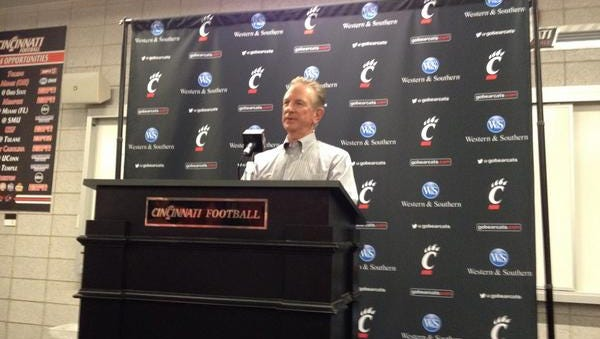 Tommy Tuberville speaks Tuesday during his weekly media luncheon.