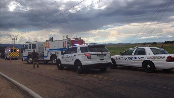 A man was airlifted from a Weld County Road on Friday afternoon after his truck ran over his legs near the corner of WCR 84 and WCR 15.