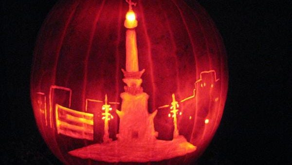 Alecia Burkhardt wins our 2014 Face of Indy Pumpkin Carving Contest with this depiction of the Soldiers and Sailors Monument