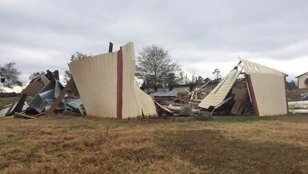 Jones County tornado damage.