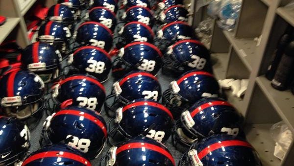 Ole Miss will wear No. 38 Chucky Mullins helmets during Saturday's game against Memphis.