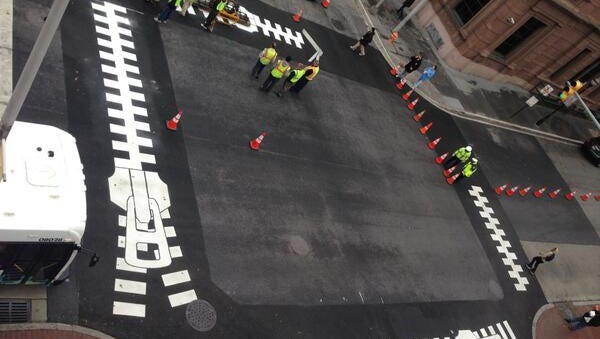 A creative crosswalk in Baltimore created in recent years that was promoted by the Baltimore Office of Promotion and the Arts.