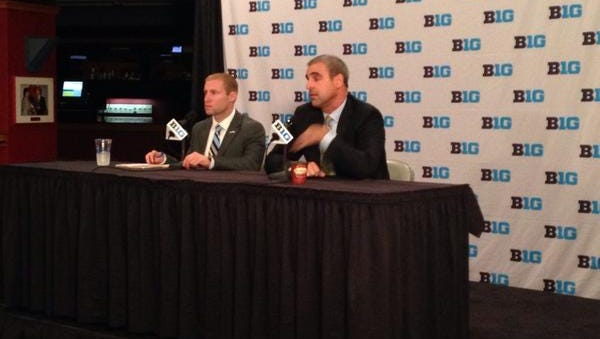 MSU coach Tom Anastos, right, addresses the media during Big Ten hockey media day on Wednesday morning at Joe Louis Arena in Detroit. The Spartans are picked fifth in the preseason coaches poll.