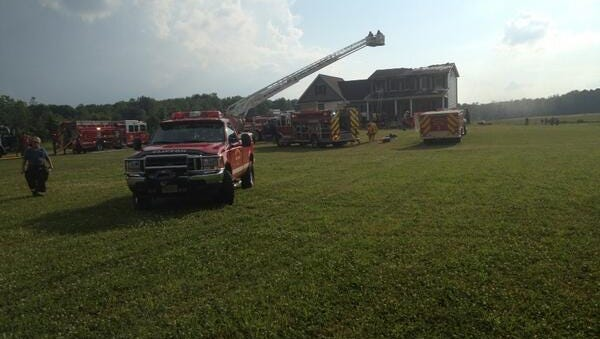Firefighter respond to a fire in Riga. The house was struck by lightning.