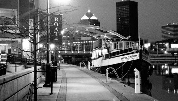 Nighttime black-and-white photo of the Mary Jemison.