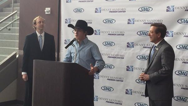 Professional Bull Rider Reese Cates and Mayor Mike Huether at Thursday's announcement