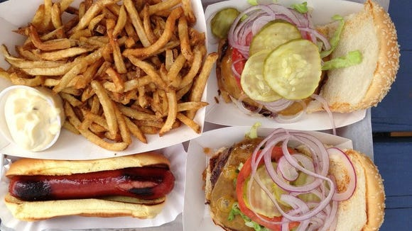 Burgers, fries and a hot dog at the Filling Station in Palisades. A second location has opened in Haverstraw.