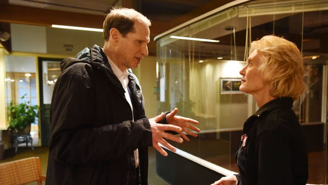 """U.S. Sen. Ron Wyden speaks with the star of """"Blonde Poison,"""" Carol Adams Fritsche, after the Verona Studio's opening night production in February 2015. Wyden had a family connection to the story about a Jewish woman who betrayed thousands of her own to the Nazis."""
