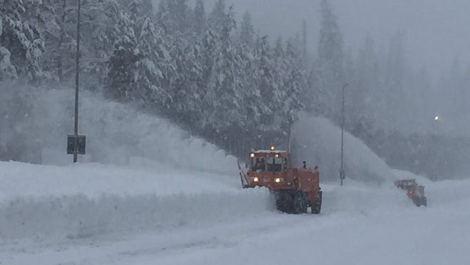 Snowblowers worked to clear 150 lane miles of I-80 while snow continues to fall on Donner Pass, Wednesday January 11, 2017.