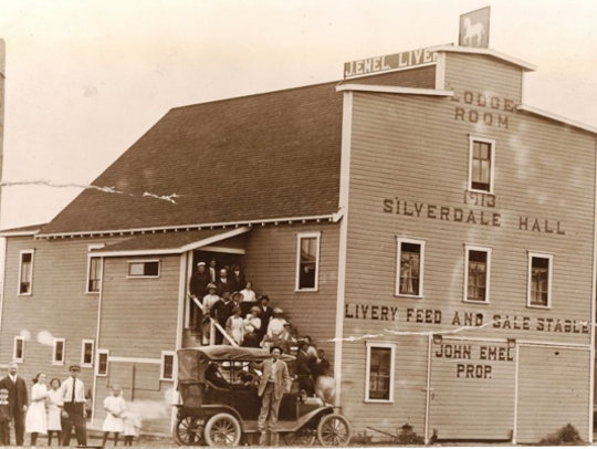 John Emel's livery and hall in Silverdale's early days.