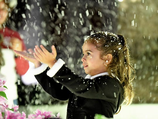 Kiana Castillo, 5, was mesmerized by the snow during