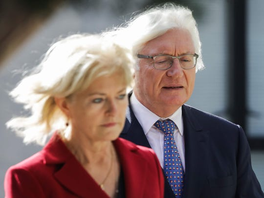 Kathleen Bliss and Tom Mesereau, lawyers for Bill Cosby, arrive for the second day of jury deliberations in the retrial of Cosby's sexual assault case in Norristown, Pa., on April 26, 2018.
