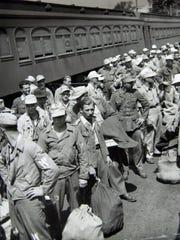 German prisoners of war arrive by train at Camp Shanks in Orangeburg during World War II.