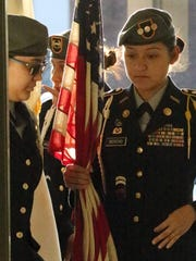The sun rises early Easter Sunday as a Clint school district color guard prepared to present the colors at the 42nd annual Community Easter Service at the Oz Glaze Center in Horizon City. The service is put on by the Kiwanis Club of Horizon City.