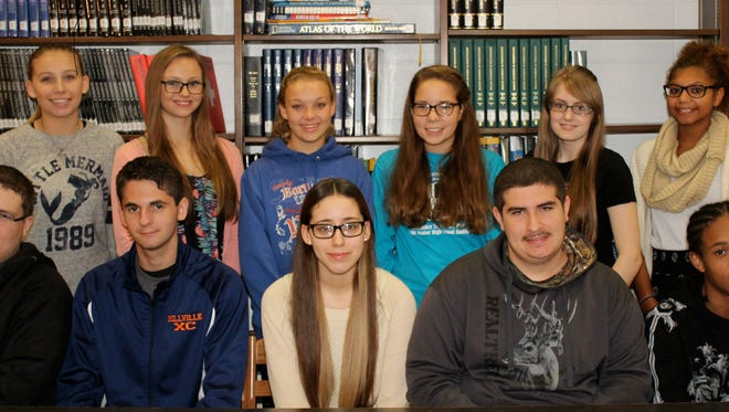 Millville Senior High School's Students of the Month for September are: (Seated, from left) Daniel Rios for business, Vincent Mastrobuono for English, Mariah Leandry for social studies, Anthony Headley for physical education and Na'Quan Adams for industrial technology; and (standing, from left), Jerica Headley for music, Mikayla Bozarth for health, Sheyenne Rivera for math, Julia Terry for world language, Anna Shaver for art and Brianna File for science. Ahijah Rodriguez for English is not pictured.