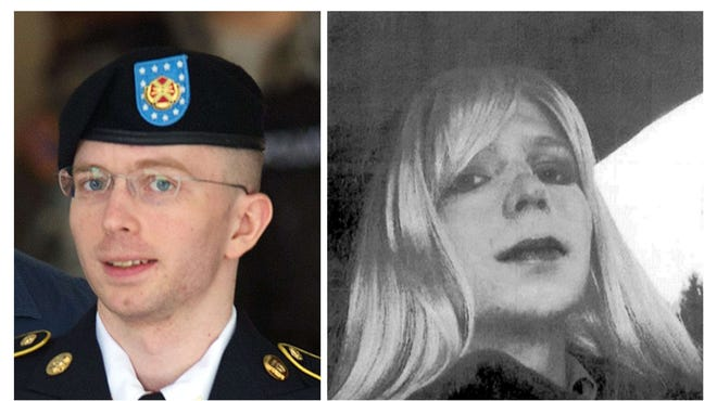 These two file photos show U.S. Army Pfc. Bradley Manning, left, leaving a military court facility on July 30, 2013, in Fort Meade, Md.  At right is an undated photo from the Army showing Bradley Manning in wig and make-up.