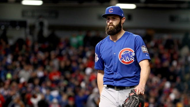 CLEVELAND, OH - OCTOBER 26:  Jake Arrieta #49 of the Chicago Cubs walks back to the dugout after being relieved during the sixth inning against the Cleveland Indians in Game Two of the 2016 World Series at Progressive Field on October 26, 2016 in Cleveland, Ohio.  (Photo by Ezra Shaw/Getty Images) ORG XMIT: 678125531 ORIG FILE ID: 618480032