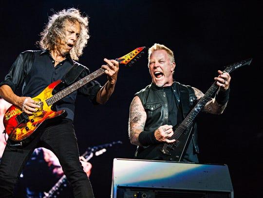 Kirk Hammett, left, and James Hetfield of Metallica