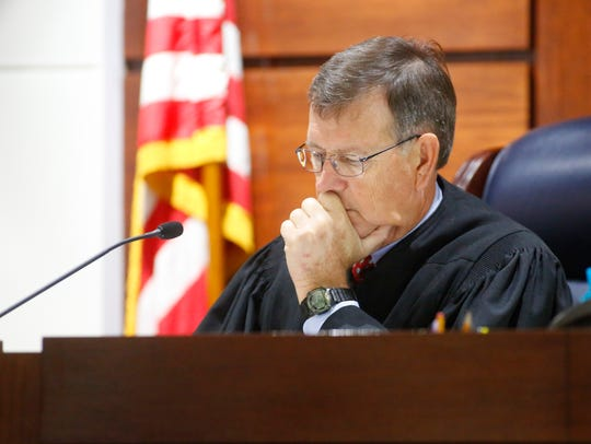 Leon Circuit Judge James Hankinson presides over Denise Williams' bail hearing at the Leon County Courthouse on Monday.